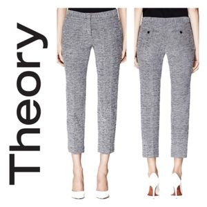 Theory navy and white cropped tweet pants
